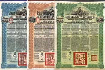 Chinese Government 5 % Reorganisation Gold Loan of 1913 - (3 Stücke)