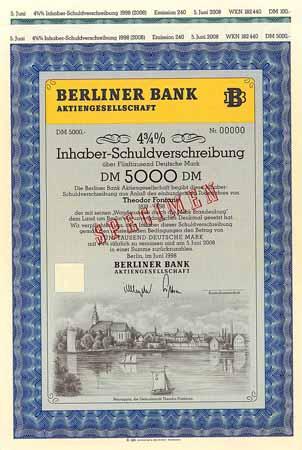 Berliner Bank Ag 2 Stücke Freunde Historischer Wertpapiere