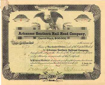 Arkansas Southern Railroad (Capital Stock $ 130,000)
