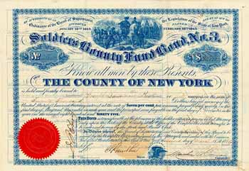 County of New York, Soldiers Bounty Fund Bond, No. 3