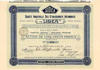 "Soc. Industrielle des Etablissements Automobiles ""SIDEA"""