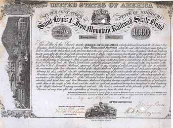 St. Louis & Iron Mountain Railroad State Bond