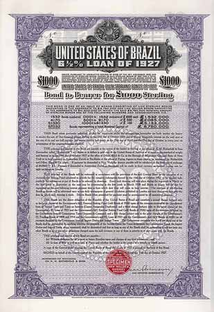 United States of Brazil 6,5 % Sterling Loan of 1927