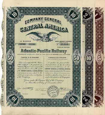 Atlantic-Pacific Railway (Company General of Central America) (3 Stücke)