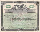 Arkansas Southern Railroad (Capital Stock 3,160,000 $)