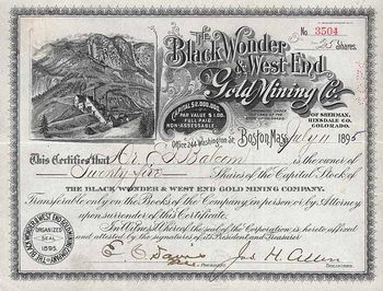 Black Wonder & West End Gold Mining Co. of Sherman